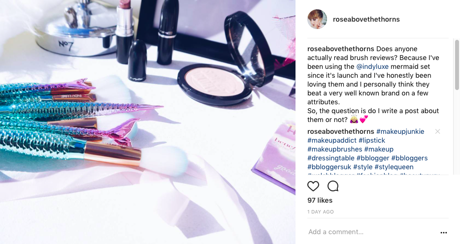 indy-luxe-brush-review-Instagram-screenshot