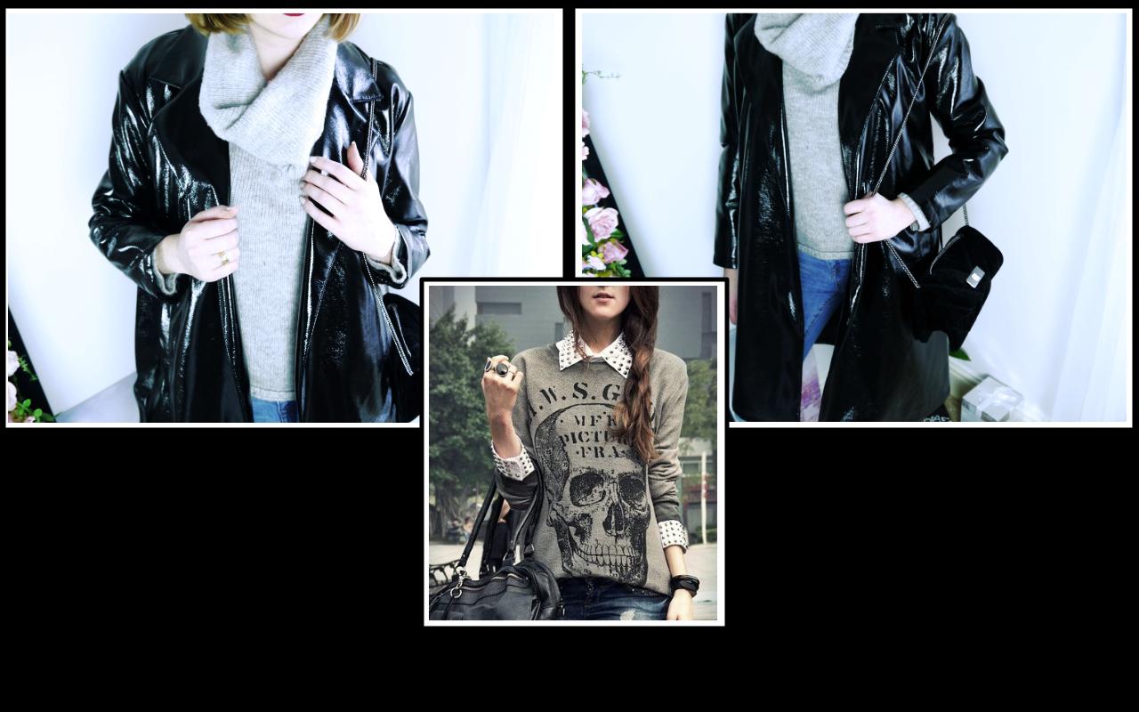 Vinyl Coat - My Outfit 1 + sweatshirt