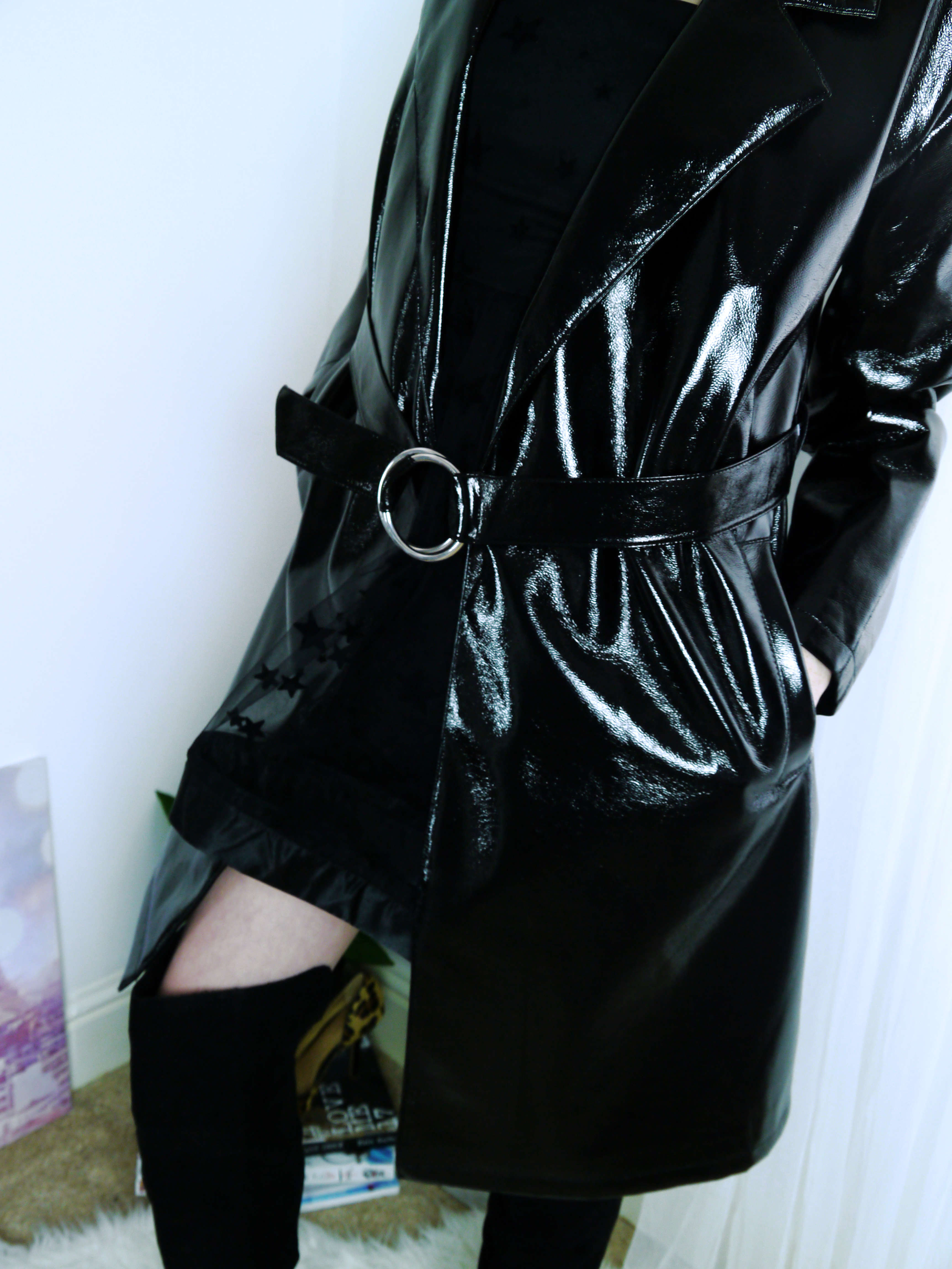 Vinyl Coat - Star Dress Outfit - Closed Coat