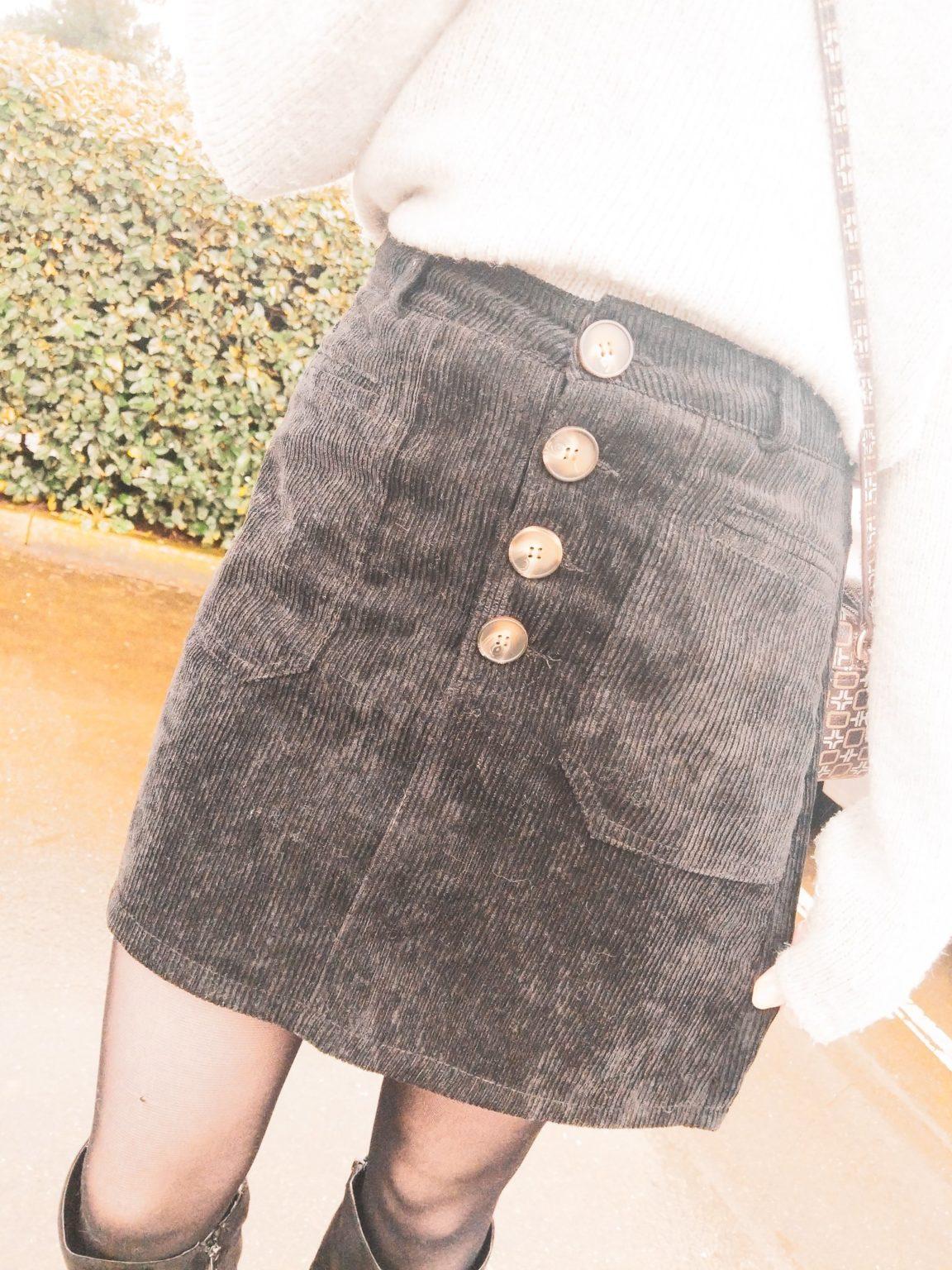 Corduroy Skirt and Knee High Boots